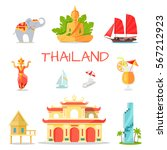 thailand national symbols set.... | Shutterstock .eps vector #567212923