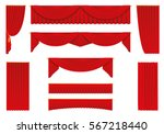 red curtains  realistic set  ... | Shutterstock .eps vector #567218440