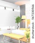 modern bright interior . 3d... | Shutterstock . vector #567230566