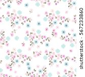 vintage feedsack pattern in... | Shutterstock . vector #567233860