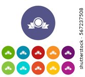 medal with ribbon set icons in... | Shutterstock .eps vector #567237508