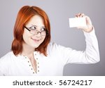Portrait of an young beautiful happy woman with blank white card - stock photo