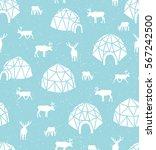 seamless pattern with reindeer... | Shutterstock .eps vector #567242500