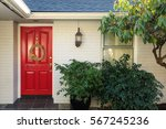 front porch with white painted... | Shutterstock . vector #567245236