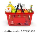 shopping market basket with... | Shutterstock . vector #567253558
