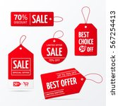 vector collection of red sale... | Shutterstock .eps vector #567254413