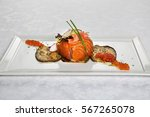 salmon with the baked vegetable ... | Shutterstock . vector #567265078
