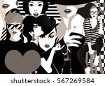 group portraits of fashion... | Shutterstock . vector #567269584