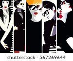 group portraits of fashion... | Shutterstock . vector #567269644