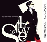Fashion quote with woman in style pop art. Vector illustration | Shutterstock vector #567269704