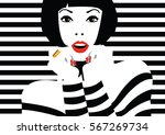 fashion woman in style pop art. ... | Shutterstock .eps vector #567269734