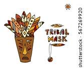tribal mask ethnic  sketch for... | Shutterstock .eps vector #567269920