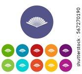 opened oriental fan set icons... | Shutterstock .eps vector #567270190