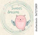 Stock vector cartoon sleeping owl cute hand drawn illustration 567272809
