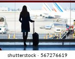 young woman in the airport ...   Shutterstock . vector #567276619