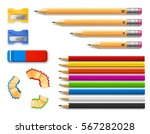 Stock vector colored and various length pencils with sharpeners and eraser on white background 567282028