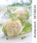close up on fresh whole cauliflower on kitchen towel - stock photo