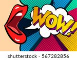 Stock vector open mouth and wow message in pop art style promotional background presentation poster flat 567282856