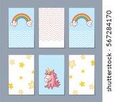 cute unicorn with rainbow | Shutterstock .eps vector #567284170