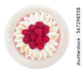 raspberry yogurt cake isolated...   Shutterstock . vector #567298558