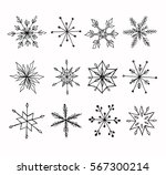 hand drawn doodle snowflakes... | Shutterstock .eps vector #567300214