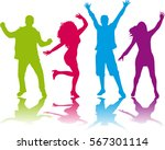 dancing people silhouettes | Shutterstock .eps vector #567301114