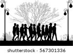 crowd of people walking. | Shutterstock .eps vector #567301336