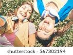sporty girlfriends taking... | Shutterstock . vector #567302194