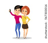 girlfriends make selfie. girls... | Shutterstock .eps vector #567303016