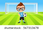 young boy. kid playing football.... | Shutterstock .eps vector #567313678