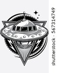 flying ufo alien spaceship... | Shutterstock .eps vector #567314749