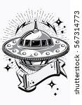 flying ufo alien spaceship... | Shutterstock .eps vector #567314773