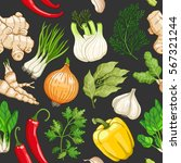vegetable seamless pattern with ... | Shutterstock . vector #567321244