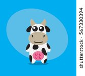 cow cartoon flat cute card on... | Shutterstock .eps vector #567330394