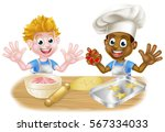cartoon boys  one black one... | Shutterstock .eps vector #567334033