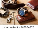 luxury fashion watch with blue... | Shutterstock . vector #567336298