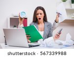 young businesswoman is angry... | Shutterstock . vector #567339988