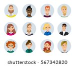 set of diverse round avatars... | Shutterstock .eps vector #567342820