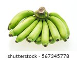 Green Banana Fruit Isolated On...