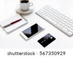 credit card  keyboard ... | Shutterstock . vector #567350929