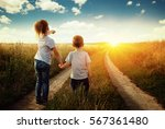 little boy and girl in the... | Shutterstock . vector #567361480