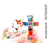 colorful christian cross with... | Shutterstock .eps vector #567362629