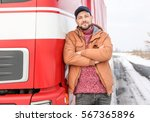 handsome driver near big modern ... | Shutterstock . vector #567365896