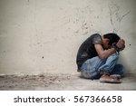 hopeless man hands tied... | Shutterstock . vector #567366658