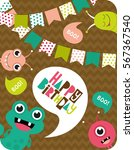 monster party card design.... | Shutterstock .eps vector #567367540
