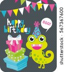 monster party card design.... | Shutterstock .eps vector #567367600