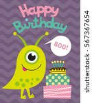 monster party card design.... | Shutterstock .eps vector #567367654