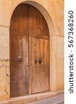 mediterranean old wooden door... | Shutterstock . vector #567368260