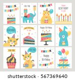 happy birthday card set. vector ... | Shutterstock .eps vector #567369640