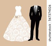 wedding card with the clothes... | Shutterstock .eps vector #567374026
